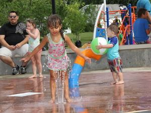 Children playing in splash pad